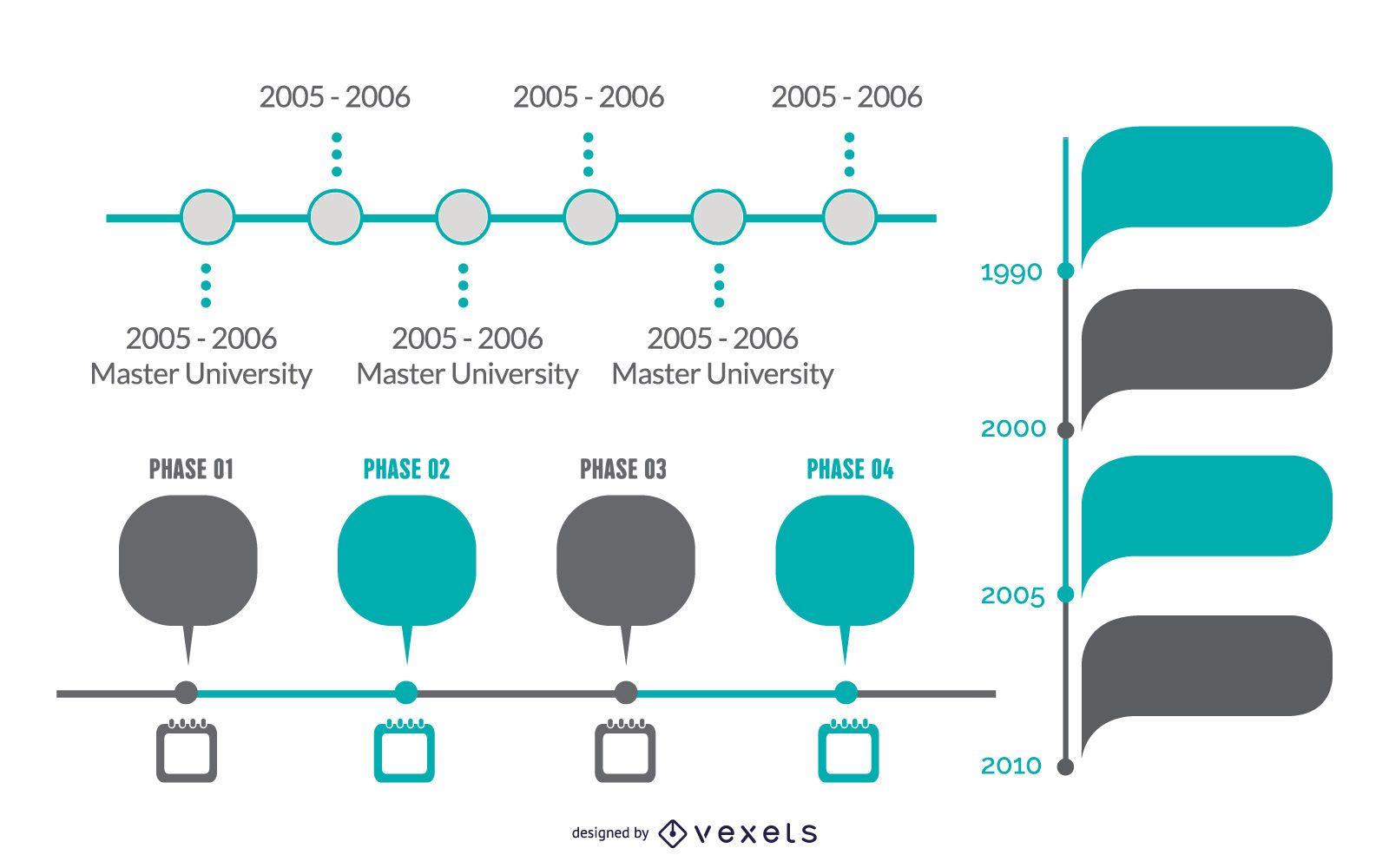 Elegante conjunto de infografía y cronograma del proyecto