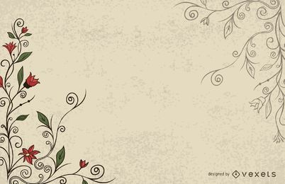 Vereinfachter wirbelnder Weinlese-Blumenhintergrund