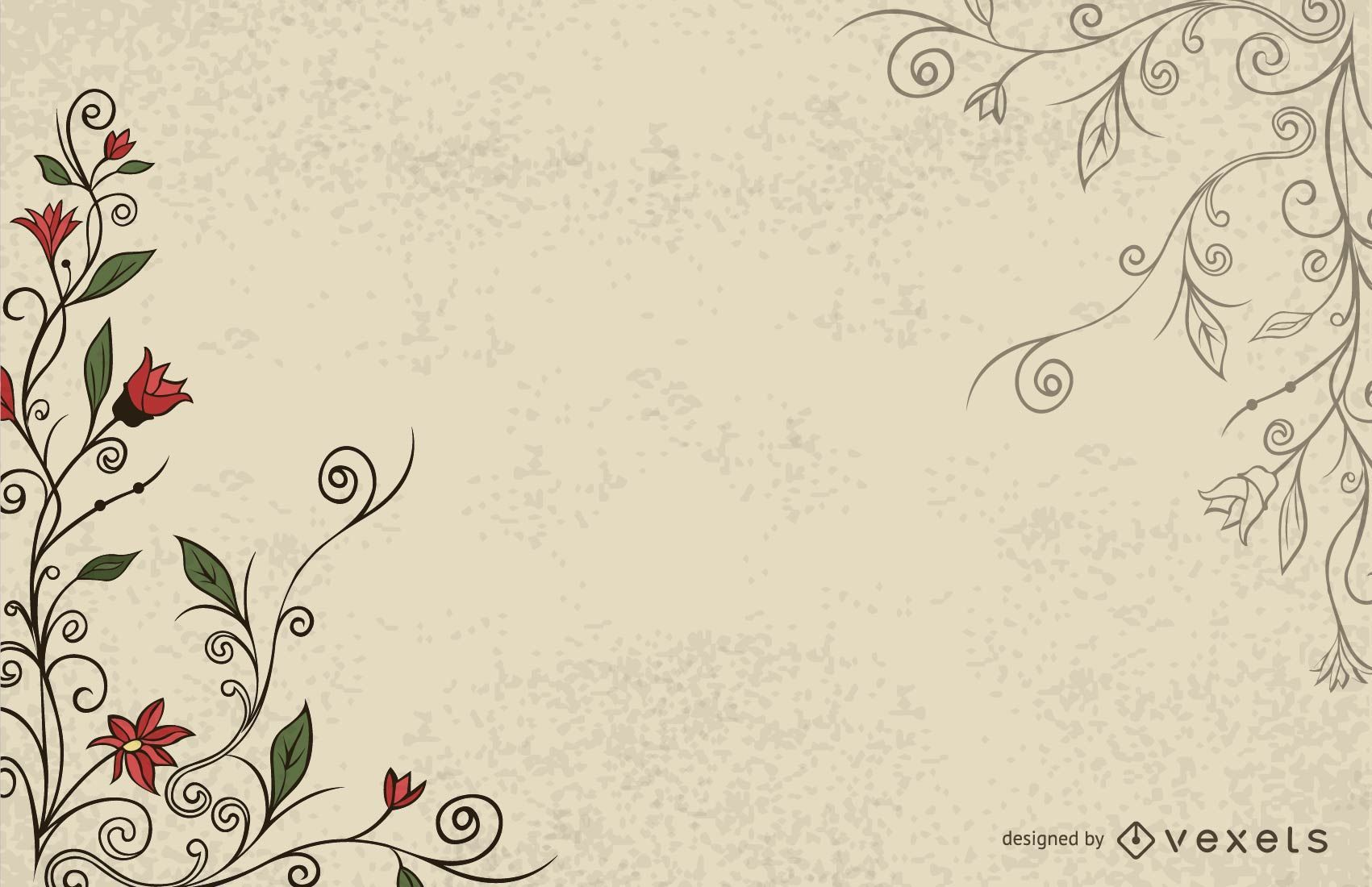 Simplistic Swirling Vintage Floral Background Vector Download