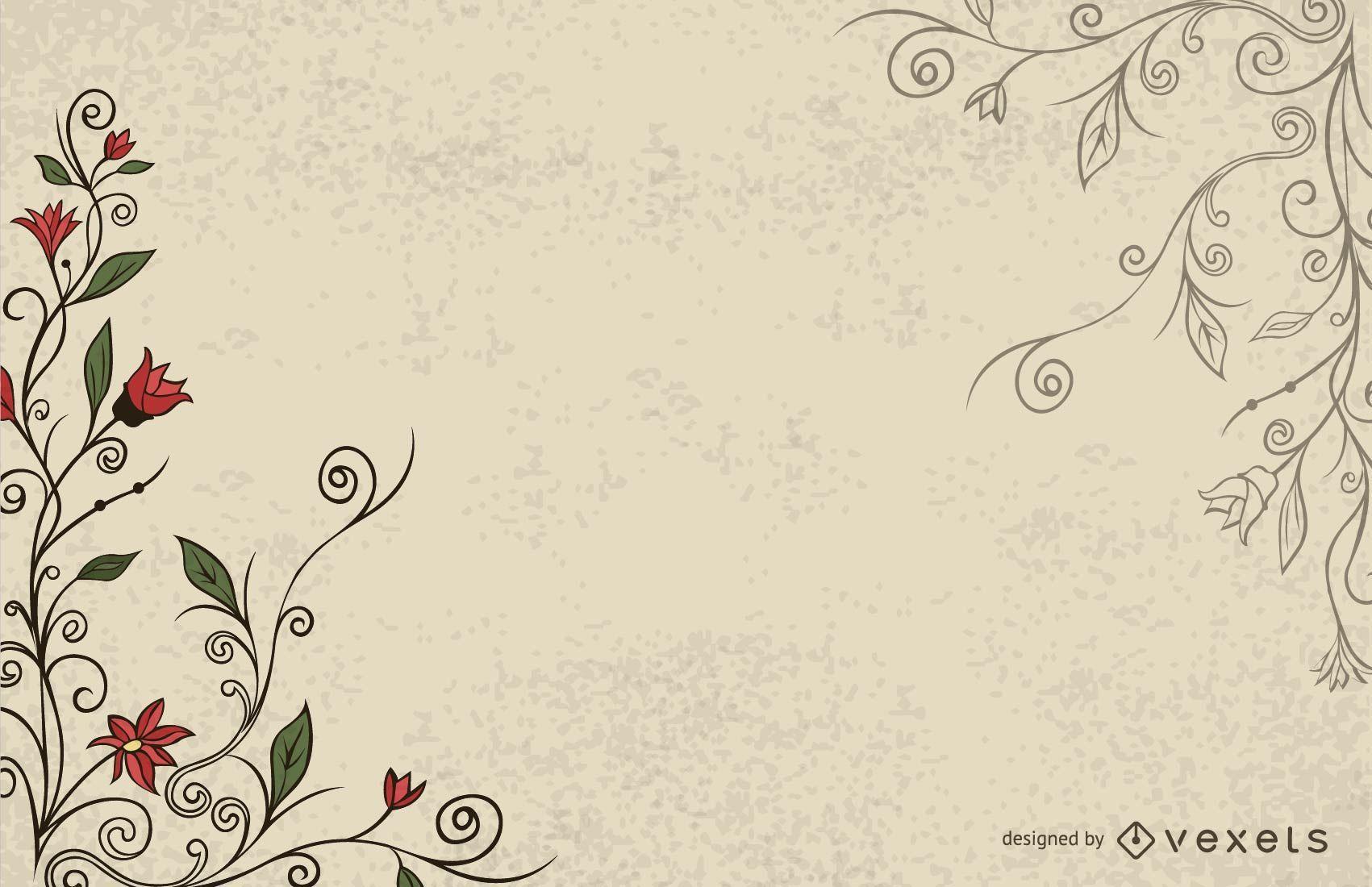 Simplistic Swirling Vintage Floral Background