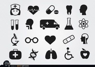 20 Symbole für Medizin und Gesundheit