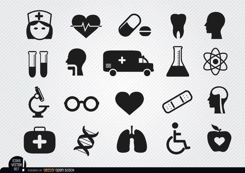 20 iconos médicos y de salud.