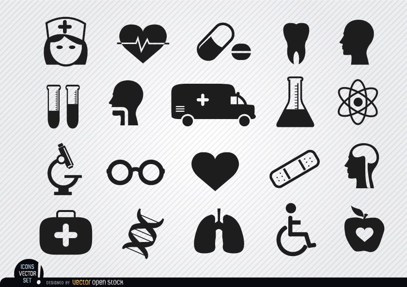 20 Medizin- und Gesundheitssymbole