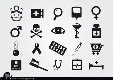 20 iconos de símbolos de medicina