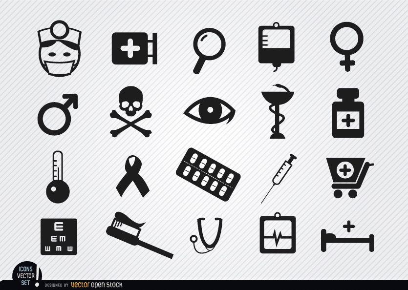 20 Symbole für Medizinsymbole