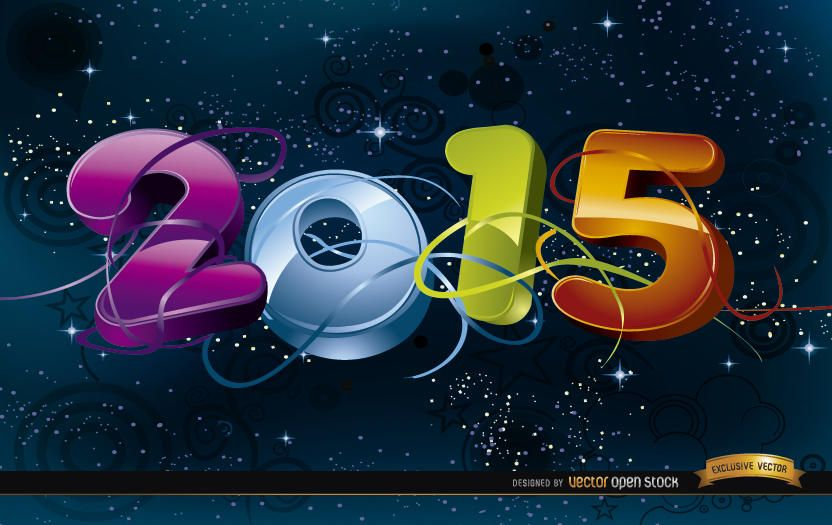 2015 Celebration in space background