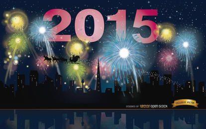 Skyline de fogos de artifício de 2015 anos