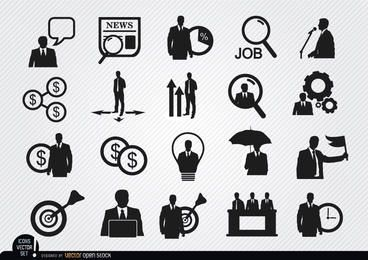 20 Geschäftsmannikonen