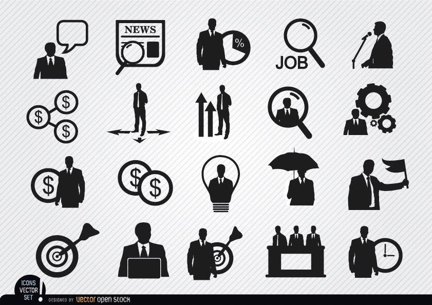 20 Geschäftsmann-Symbole