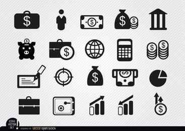20 Investimentos em dinheiro e ícones de poupança