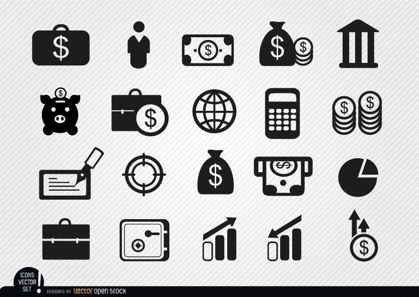 20 iconos de ahorro e inversiones de dinero