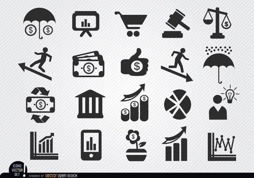 Conjunto de iconos económicos