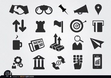 Conjunto de ícones de negócios monetários