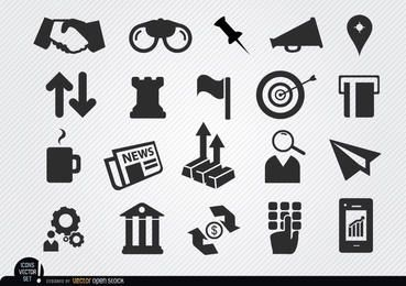 Monetary business icons set
