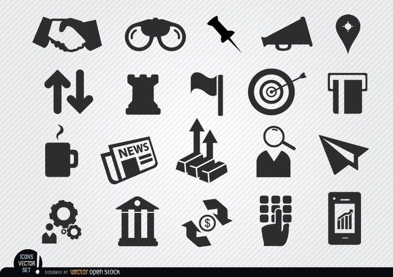 Monetary business icons set