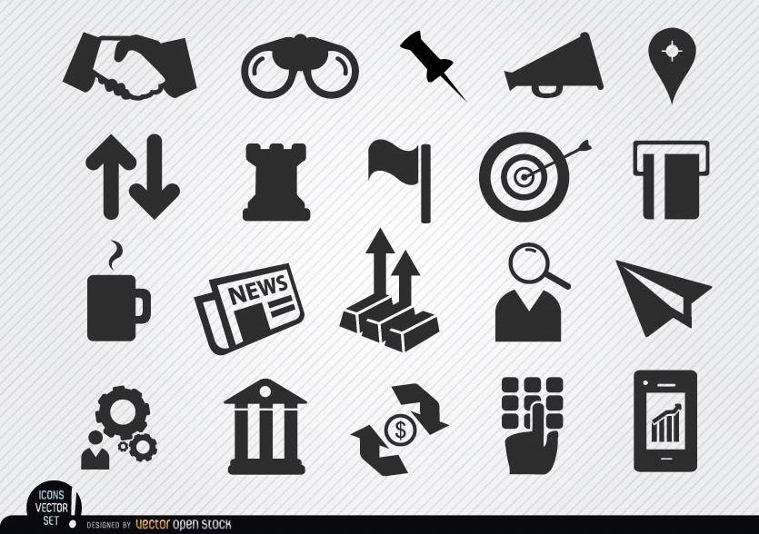 Conjunto de iconos de negocios monetarios