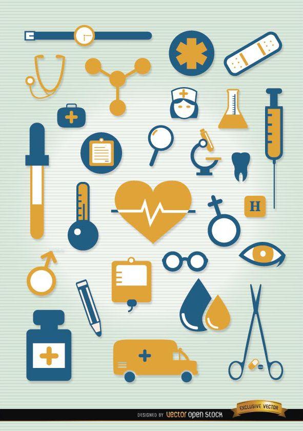 Krankenhaussymbole eingestellt