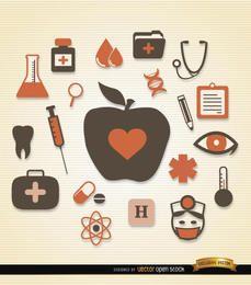 Medizinische Gesundheitssymbole packen