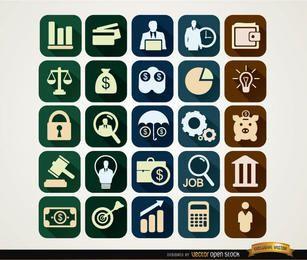Ícones financeiros ao quadrado