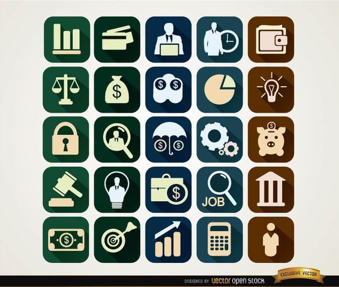 Iconos financieros cuadrados