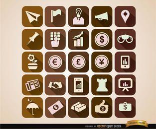Ícones do negócio do quadrado definido