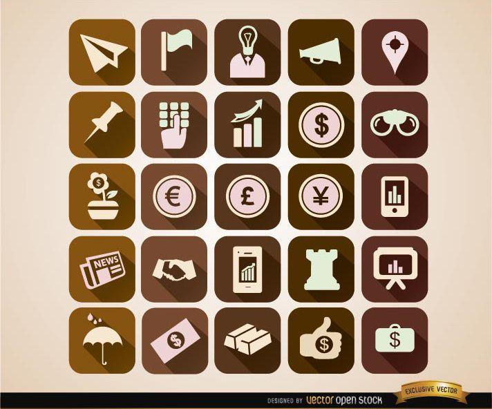 Conjunto de iconos de negocios cuadrados