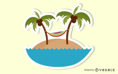 Etiqueta engomada enrrollada de la playa del verano