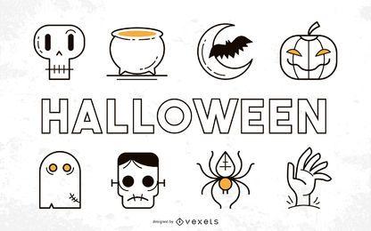 Pacote de coisas de Halloween funky com tipografia