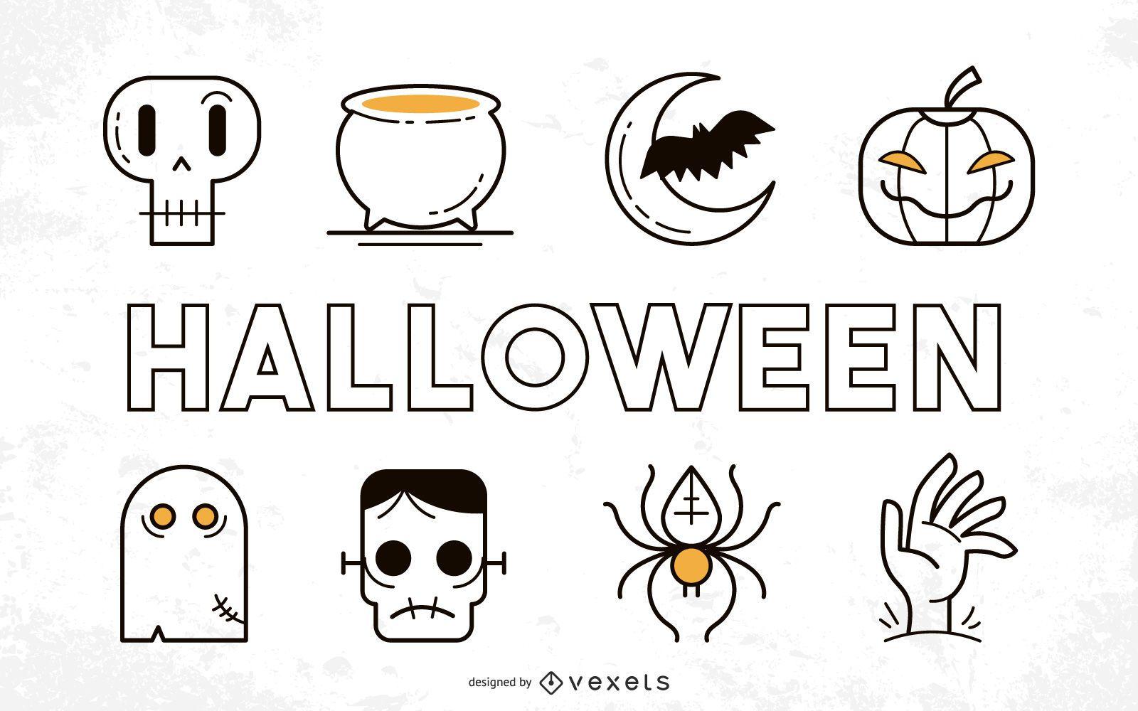 Paquete de cosas divertidas de Halloween con tipografía