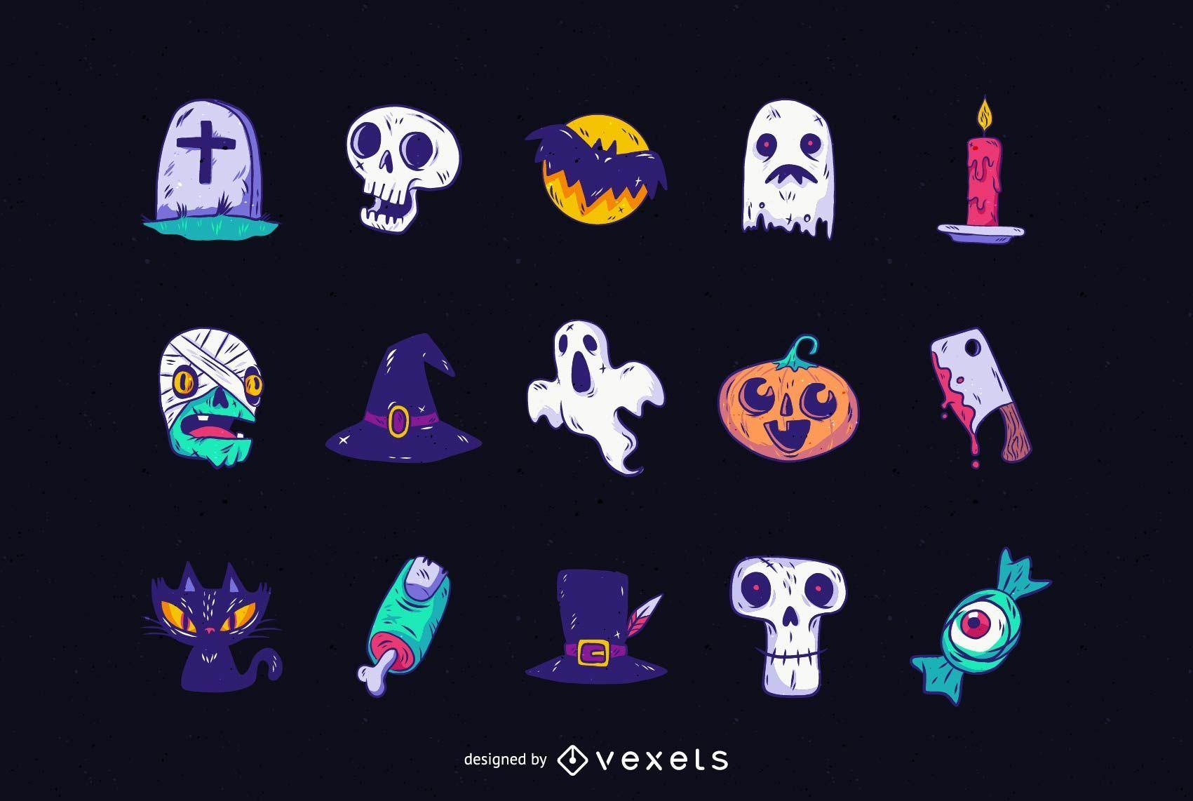 Paquete de objetos de Halloween lindo cazado