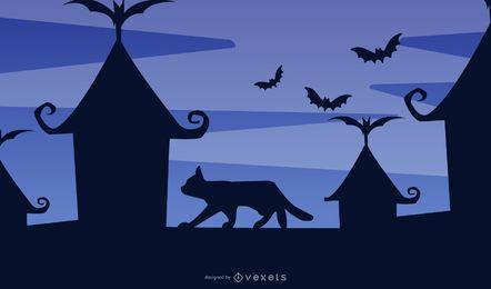 Die Katze, die auf Hügel sitzt, jagte Halloween-Hintergrund