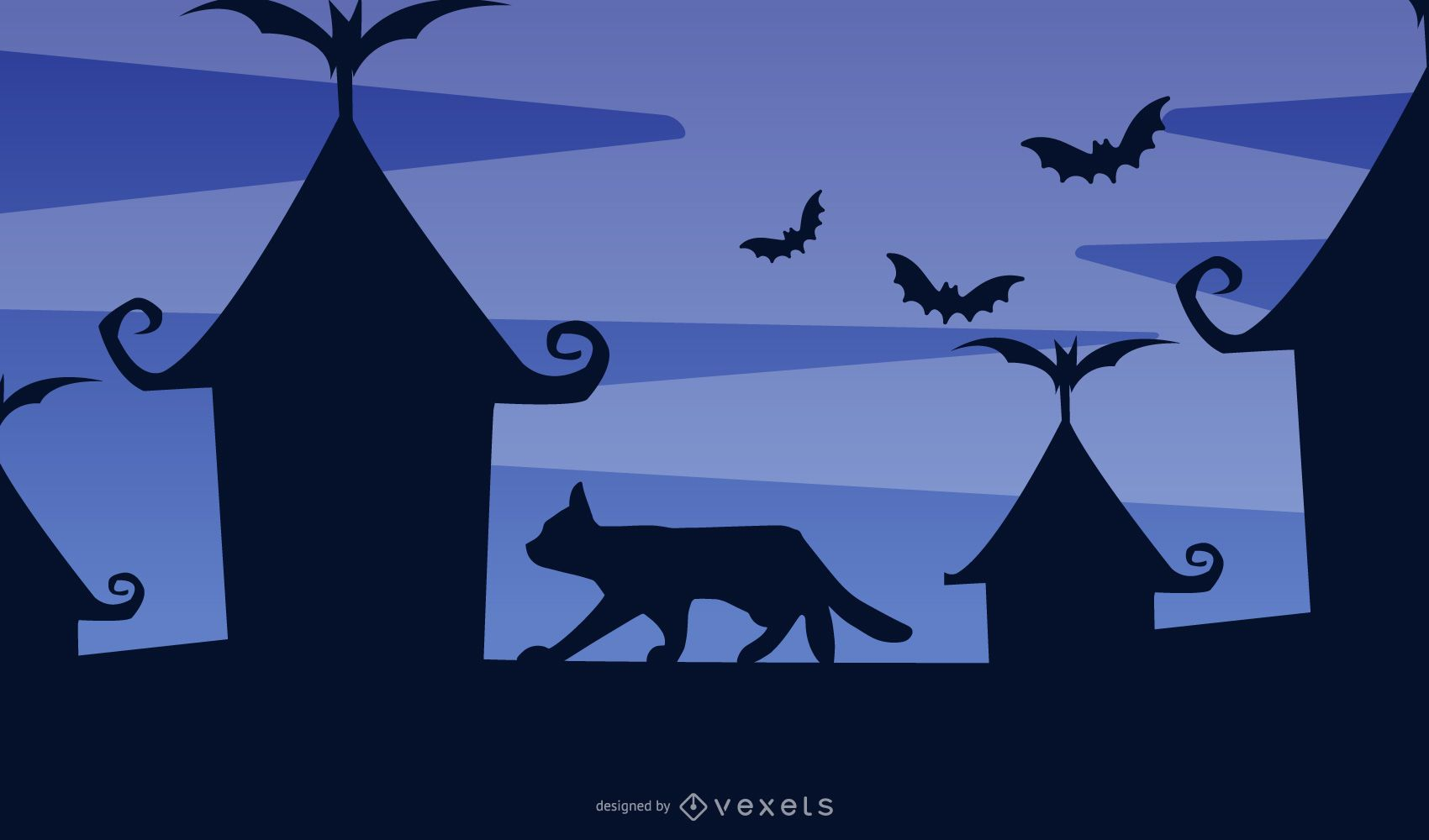 Cat on the Rooftop Silhouette Design