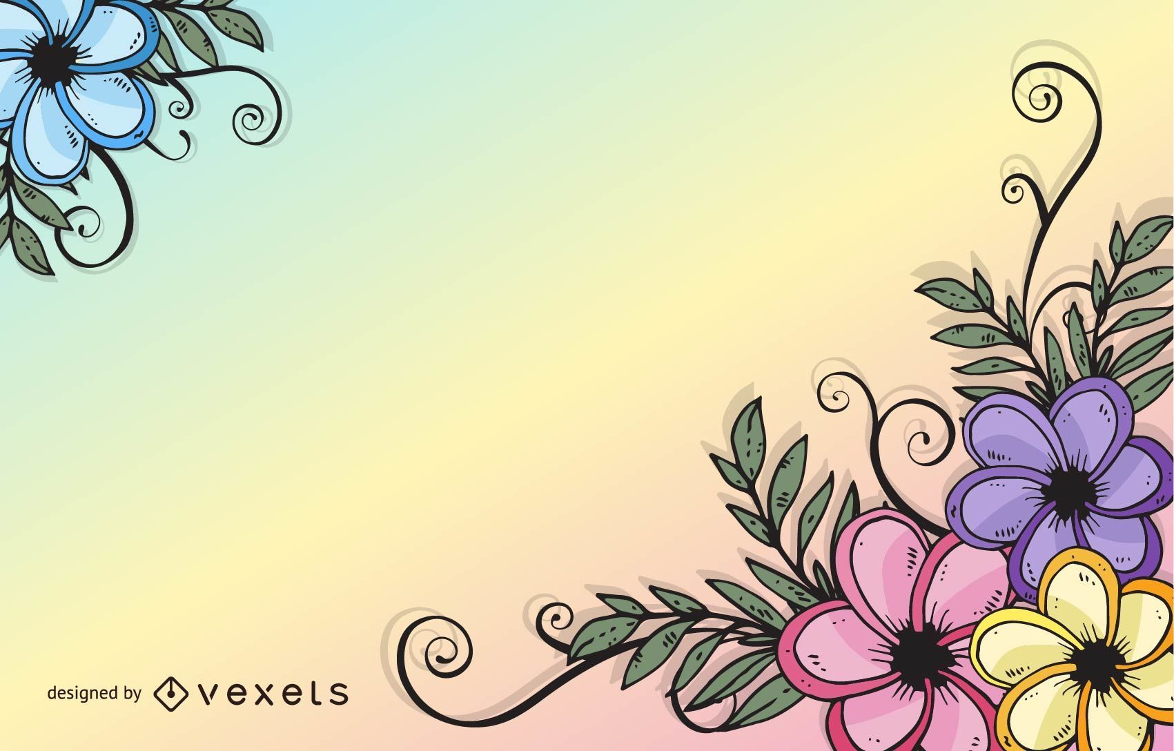 Abstract Colorful Decorative Floral Swirls Corner