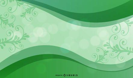 Fondo de marco de curva verde con flores y bokeh