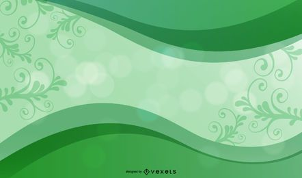 Green Curve Frame Background with Floral & Bokeh