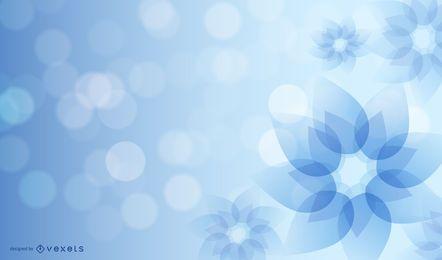 Blaue abstrakte Blume mit glühenden Blendungen