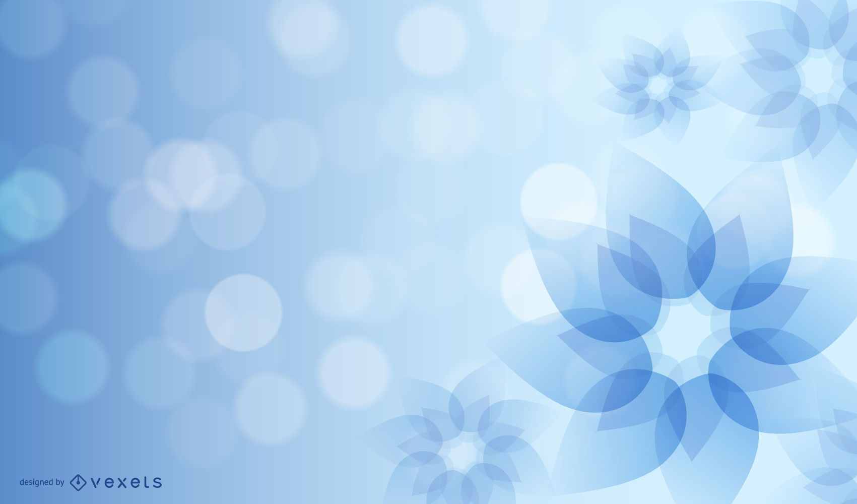 Blue Abstract Flower with Glowing Glares