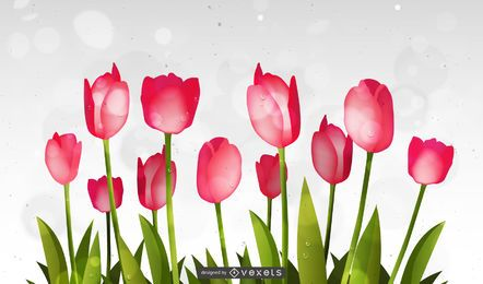 Fluorescent Abstract Tulip & Bokeh Circles Background