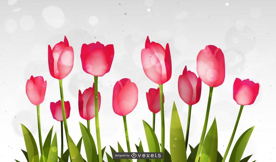 Tulipán abstracto fluorescente y fondo de círculos Bokeh