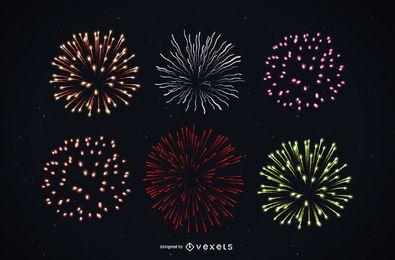 Brilhante colorido detalhado fogo de artifício
