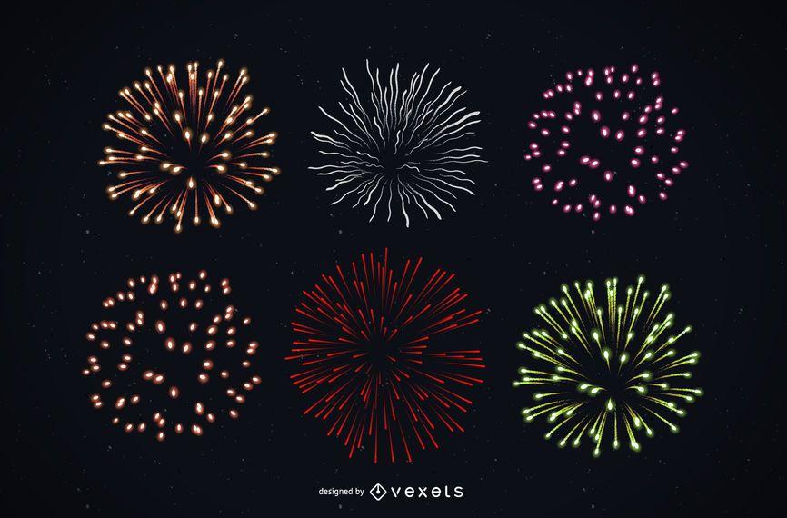 Paquete de fuegos artificiales detallado colorido brillante