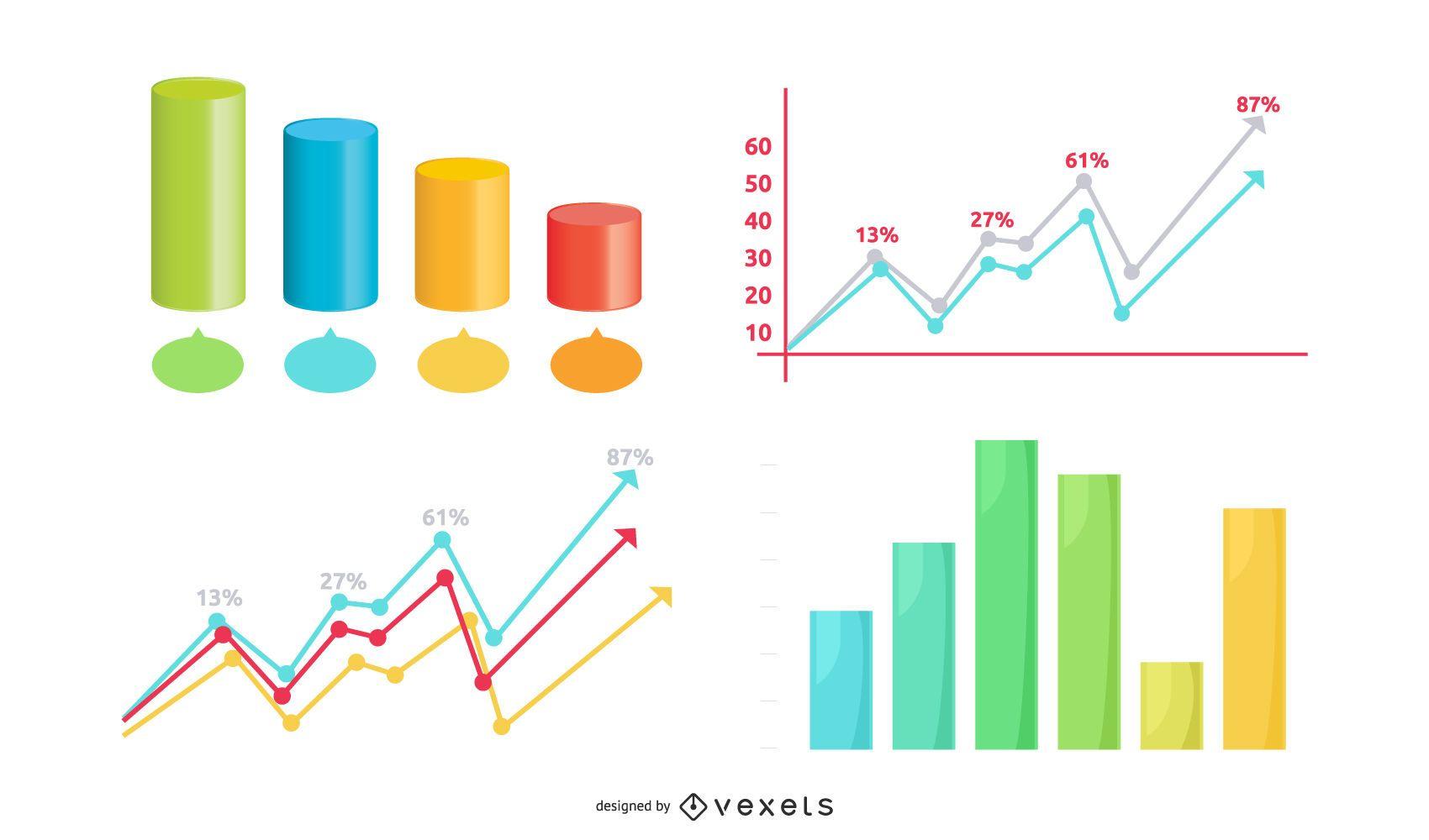 Creative Statistic Charts Infographic Set