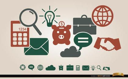 Business financial icons menu