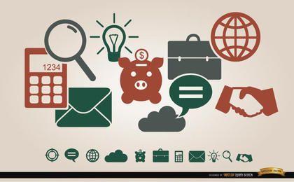 Menu de ícones financeiros do negócio