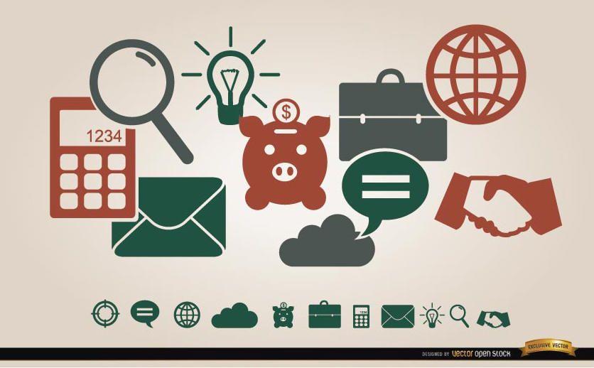 Menu de ícones financeiros de negócios