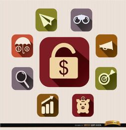 Conjunto de ícones financeiros ao quadrado