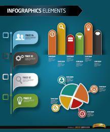 Fases de infografías de crecimiento empresarial.