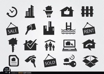 Conjunto de iconos de bienes raíces