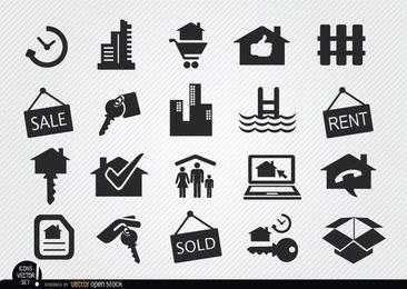 Iconos de bienes raíces fijan