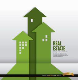 Fundo de setas crescente imobiliário